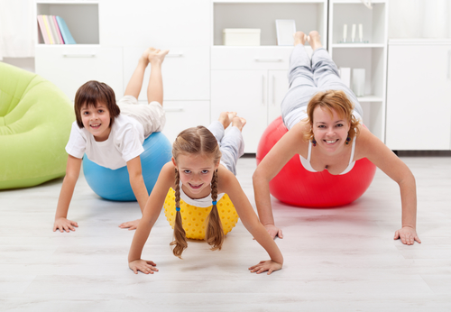 People using large exercise balls